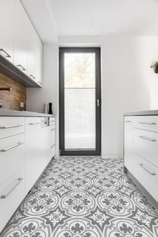 Cement Tiles, Cement Tiles Portland, Cement Floor Tiles, Cement Mosaic Tiles, Modern Cement Tiles, Encaustic Cement Tiles, Diy Concrete Countertops, Countertop Materials, Black And White Flooring, Landry Room, Tile Stores, Encaustic Tile, Style Tile, Traditional House, Home Remodeling