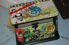 This Treasure Box was made by SarahBeth Carter using the Vintagre Sunshine kit    little black dress kit club scrapbook altered art treasure box