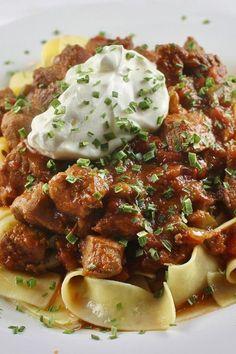 Porkolt (Hungarian Stew) Made With Pork Pork Stew Meat, Stew Meat Recipes, Pork Recipes, Veggie Recipes, Cooking Recipes, Veggie Food, Croatian Recipes, Hungarian Recipes, Hungarian Cuisine