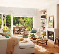 Same living room, different view. House of Turquoise. House Of Turquoise, Living Room Turquoise, Turquoise Accents, Yellow Turquoise, Aqua Blue, Home Living Room, Living Room Designs, Living Room Decor, Living Spaces