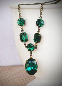 Emerald Green Rhinestone Drop Necklace, Bride, Wedding, Bridal