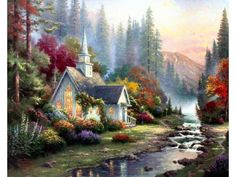 Thomas Kinkade Forest Chapel