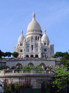 Basílica del Sagrado Corazón en París. Basilique du Sacre Coeur, Montmartre.