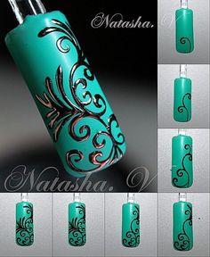 silver embossed filigree over aqua 3d Nail Art, Nail Polish Art, Nail Art Hacks, Easy Nail Art, Nail Arts, Art 3d, Beautiful Nail Designs, Beautiful Nail Art, Nail Art Arabesque