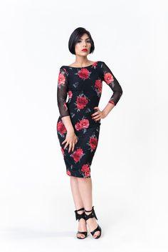 Black Floral Tango Milonga Dress Low Back Slit Split Tail Ruched e70aeb1785e