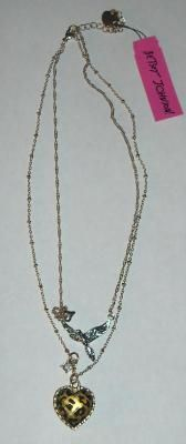 NWT- Betsey Johnson Two-Strand Necklace- Dove + Puffed Leopard Heart - Free Shipping