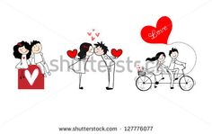 Doodle cute couples set. - stock vector