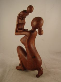 """12"""" Bali Abstract Wood Statue ~Mother's Loving Embrace - Sculpture & Carvings wood"""