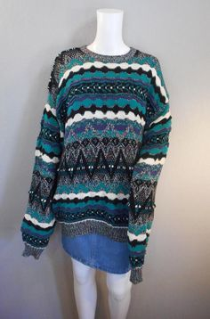 80s 90s Concrete Mix Brand Sweater Size XL coogi style c7f5415d8