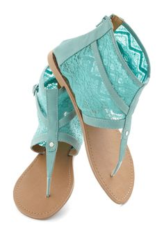 End Of The Road Trip Sandal in Sea - Solid, Lace, Summer, Flat, Boho, Mint, Casual, Daytime Party, Pastel, Spring, Variation