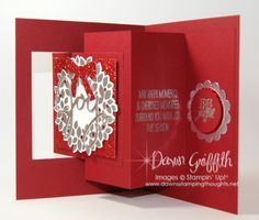 Dawn's Stamping Studio: Wondrous Wreath JOY Card - Pop out Swing Card Video Tutorial