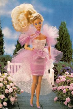Garden Party Barbie - 1988. Oh the memories! A present from Canada, she had a pedestal and the biggest hair EVER .. until I combed it!