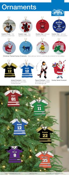Hockey Ornaments. Personalized Hockey Ornaments from ChalkTalkSports.com #hockey #hockeygifts