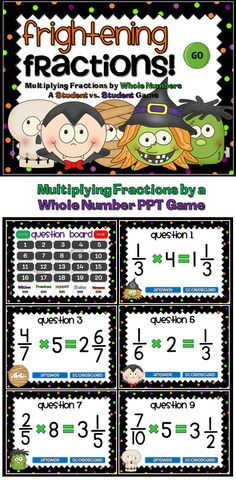 Keep you students entertained and engaged in the fun, Halloween Themed Fractions game. This game reviews multiplication of a fraction by a whole number. You can have up to 5 teams, each with a unique monster as their avatar (Witchee, Frankee, Mummee, Skelee, and Vampee). Fun for the entire class!