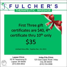 Gift certificates!! Therapists at Fulcher's Therapeutic Massage provide customized therapy to accommodate your needs. We are dedicated to providing educational treatment during your session in order to facilitate healing and wellness. Call us, (810) 724-0996 or (810)664-8852! Or visit our website - lapeermassage.com/