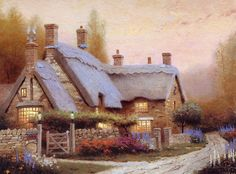Described as giving comfort, Thomas Kincaid has been critcized as being too sentimental -hmmm- I am not saying it's great art- I'm just saying it's good fantasy. Painted Cottage, Cottage Art, Cottage House, Storybook Cottage, Rose Cottage, Cottage Living, Living Room, Photo Compilation, Thomas Kinkade Art