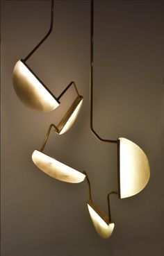 'Five Moon' hand carved Alabaster stone with brass and LED lights by Canadian born sculptor Randy Zieber Luxury Lighting, Cool Lighting, Interior Lighting, Modern Lighting, Lighting Design, Pendant Chandelier, Pendant Lighting, Lamp Design, E Design