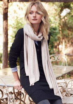 Fine Knit Scarf in Sand Marl from hush