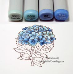 Copic Markers - Embellished Dreams: Blue Hydrangea Card - Copic Coloring Tutorial by Heidi Blankenship Copic Marker Art, Copic Pens, Copic Sketch Markers, Copic Art, Copics, Prismacolor, Draw Tutorial, Copic Markers Tutorial, Painting & Drawing