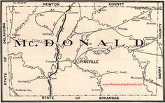 McDonald County, Missouri 1904 Map Pineville, Noel, Splitlog, Southwest City, Rocky Comfort, Lanagan, Goodman, Tiff City, MO