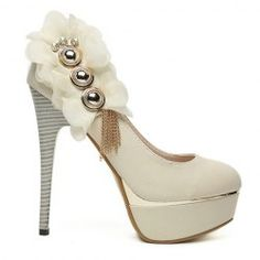 $17.07 Party Women's Pumps With Studs Tassels Floral Rhinestone Design