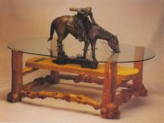 Western Home Decor: Unique Western Cowboy Coffee Table. Trail riding and stopping for a drink.