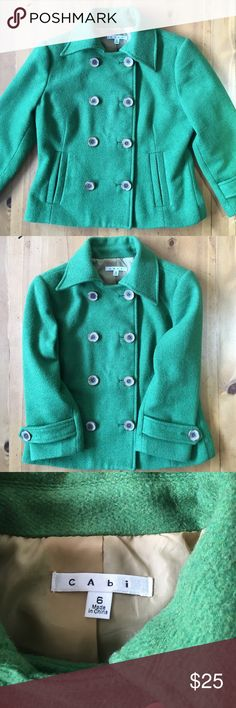 Cabi Jacket Wonderful color gently used buttons up front faux pockets on front  24 in long 19 in sleeves 36in bust size 6 CAbi Jackets & Coats