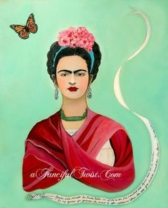she needs to be up in my bedroom!! Frida Kahlo and the Butterfly by AFancifulTwist on Etsy, $20.00