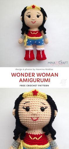 Fan Art Doll Amigurumi Croche PDF Pattern DIY Little Wonder Woman