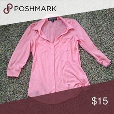 Soft Pink Button Down Good condition. Size M. Soft material Almost Famous Tops Button Down Shirts