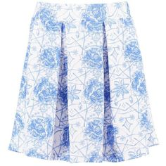 Boohoo Laci Porcelain Blue Box Pleat Scuba Skater Skirt ($10) ❤ liked on Polyvore featuring skirts, lacy skirt, blue skater skirt, blue flared skirt, blue circle skirt and flared skirt