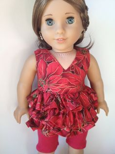 Red Ruffled Top and Leggings for American Girl Dolls by MicheFinds, $24.99
