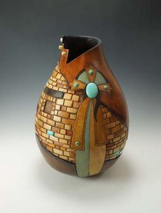 """Waiting at the Wall"". Unique Southwestern Gourd Art by Bonnie Gibson"