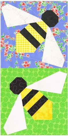 Sew a whole hive of sweet honeybees with this free paper piecing quilt block pattern suitable for adventurous beginners.  The pattern provides both 3- and 6-inch versions, and the 3-inch Honeybee block is a perfect addition to my Escaping Bugs Bottle Quilt pattern, available in my Etsy shop. If you like, embroider her antennae with black…