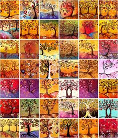 It's all in French, but if you know even a little bit of French you will be able to understand her captions. Lovely Klimt-like trees!