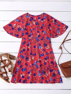 SHARE & Get it FREE | Floral Split Back Dress - RedFor Fashion Lovers only:80,000+ Items • New Arrivals Daily Join Zaful: Get YOUR $50 NOW!