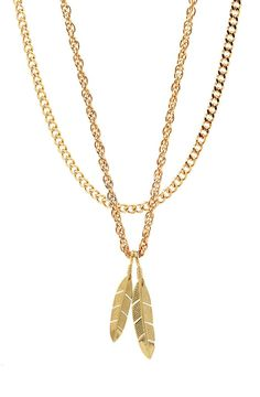 Mister  Feather Necklace - Gold