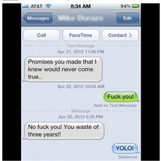 Ex-boyfriends, yolo, funny Ex Bf, Ex Boyfriend, Facetime, Yolo, Text Messages, Boyfriends, Stupid, Favorite Things, Humor