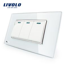 Manufacturer Livolo Luxury White Crystal Glass Panel, 3 Gang, 2 Way Push Button Home Wall Switch,VL-C3K3S-81