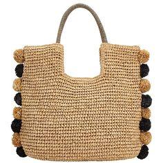 John Lewis Pom Pom Straw Grab Bag , Black / Neutral (£35) ❤ liked on Polyvore featuring bags, handbags, cocktail purse, straw purse, handbag purse, straw hand bags and summer straw handbags