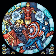 Stained Glass Avengers Print - Rose Window