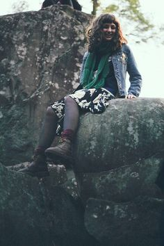 Guess? Jean, Bear Sweater, Green, Floral, Dr. Martens Rugged