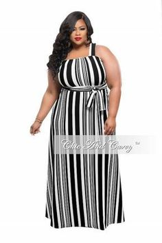 New Plus Size Maxi Dress with Single Strap in Black and White Stripe Print   CurvyModels 279f11a9448c