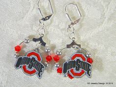 College Charm Dange Earrings-Ohio State by SDJewelryDesign16