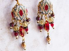 rev fabric & embroidery earrings