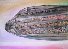 """El avion"", acrylic on canvas, 95 x 130 cm. Price of original painting: inquire"