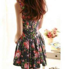 Floral Denim Princess Dress QW912B