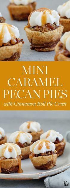 Mini Caramel Pecan Pies with Cinnamon Roll Pie Crust - PureWow Mini Desserts, No Bake Desserts, Easy Desserts, Delicious Desserts, Dessert Recipes, Yummy Food, Dessert Food, Finger Desserts, Plated Desserts