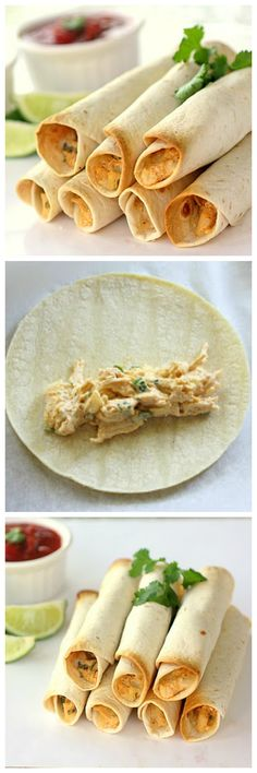Creamy Chicken Taquitos -- a super easy lunch idea! http://www.the-girl-who-ate-everything.com/2010/04/baked-creamy-chicken-taquitos.html