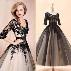 2016 Fashion Black and White Vintage Short 3/4 Sleeve Tea Length Scoop Neckline Lace Beaded Graduation Dresses